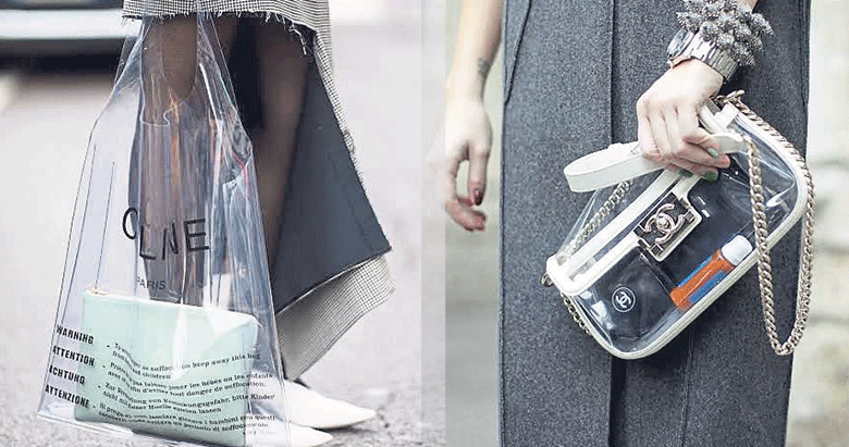 Her kıyafete yakışan transparan çanta