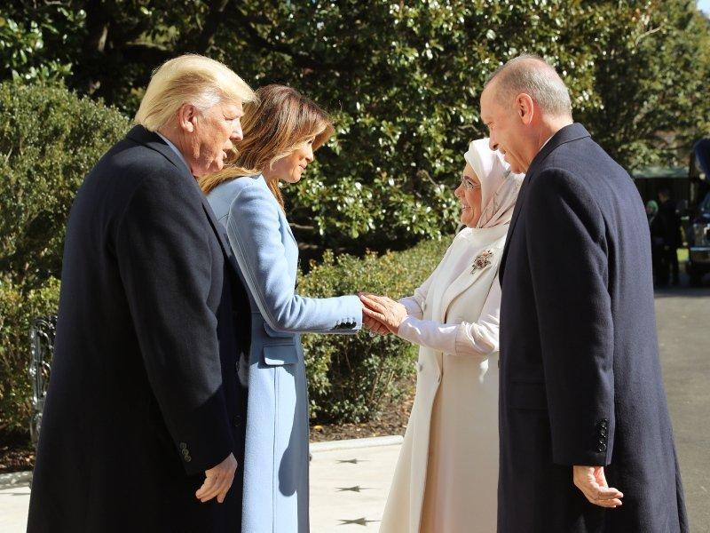 İşte Başkan Erdoğan ve Trump görüşmesinden kareler...