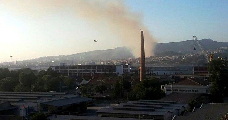 İzmir'in Karşıyaka'da orman yangını çıktı