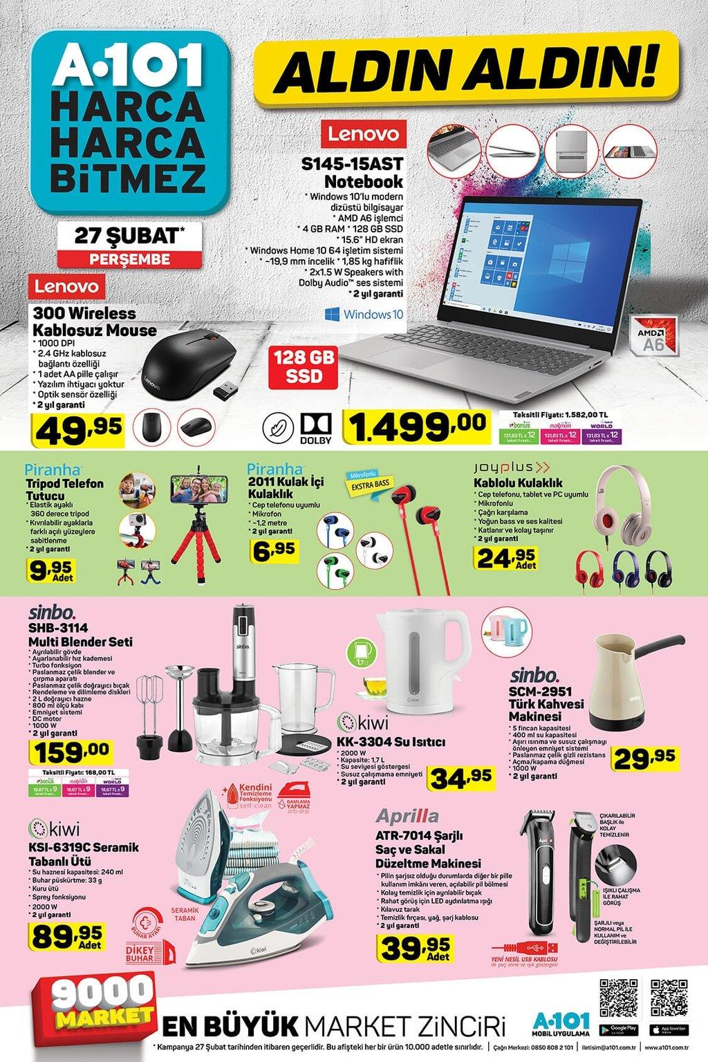 A101 aktüel ürünler kataloğu 27 Şubat Perşembe