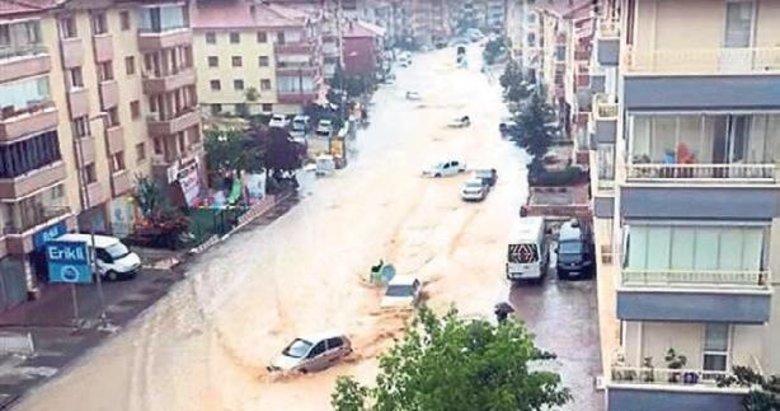 Ankara Mamak'ta sel arabaları sürükledi