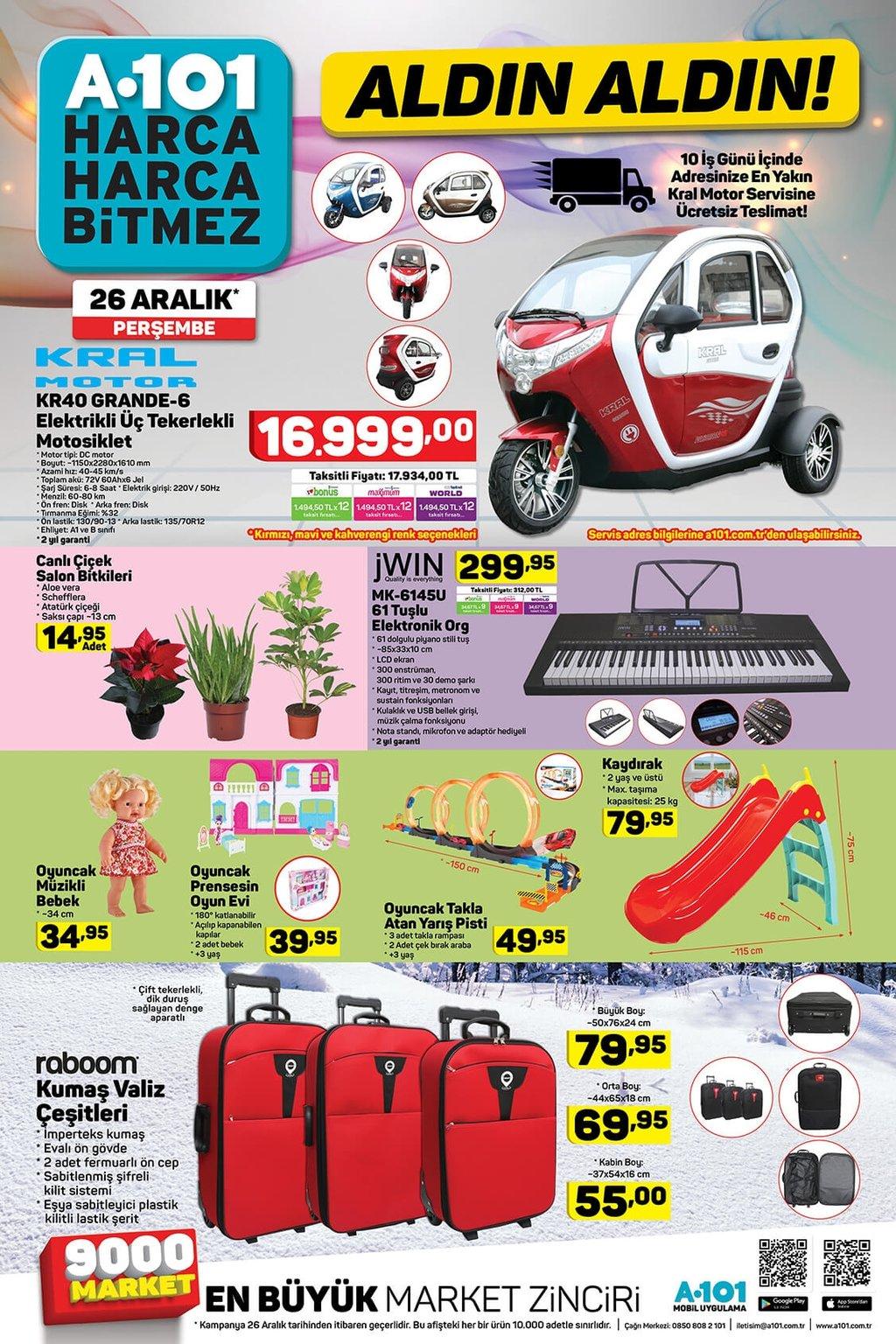 A101 aktüel ürünler kataloğu 26 Aralık Perşembe!