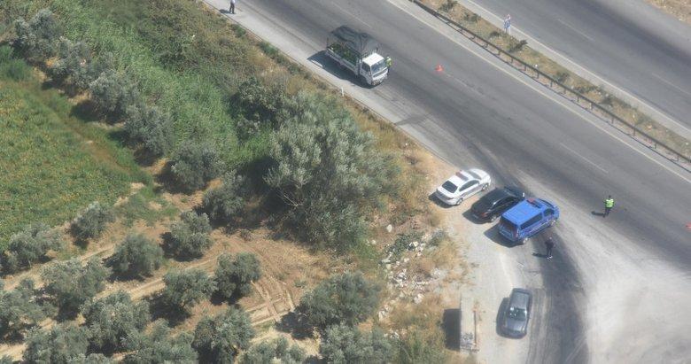 İzmir'de jandarmadan helikopterle trafik denetimi