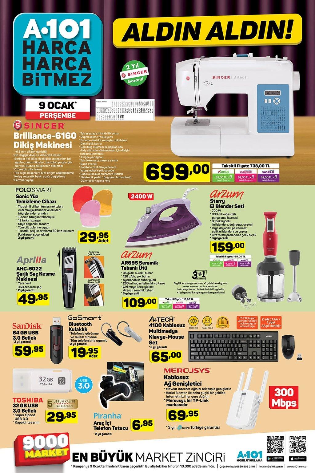 A101 aktüel ürünler kataloğu 9 Ocak Perşembe!