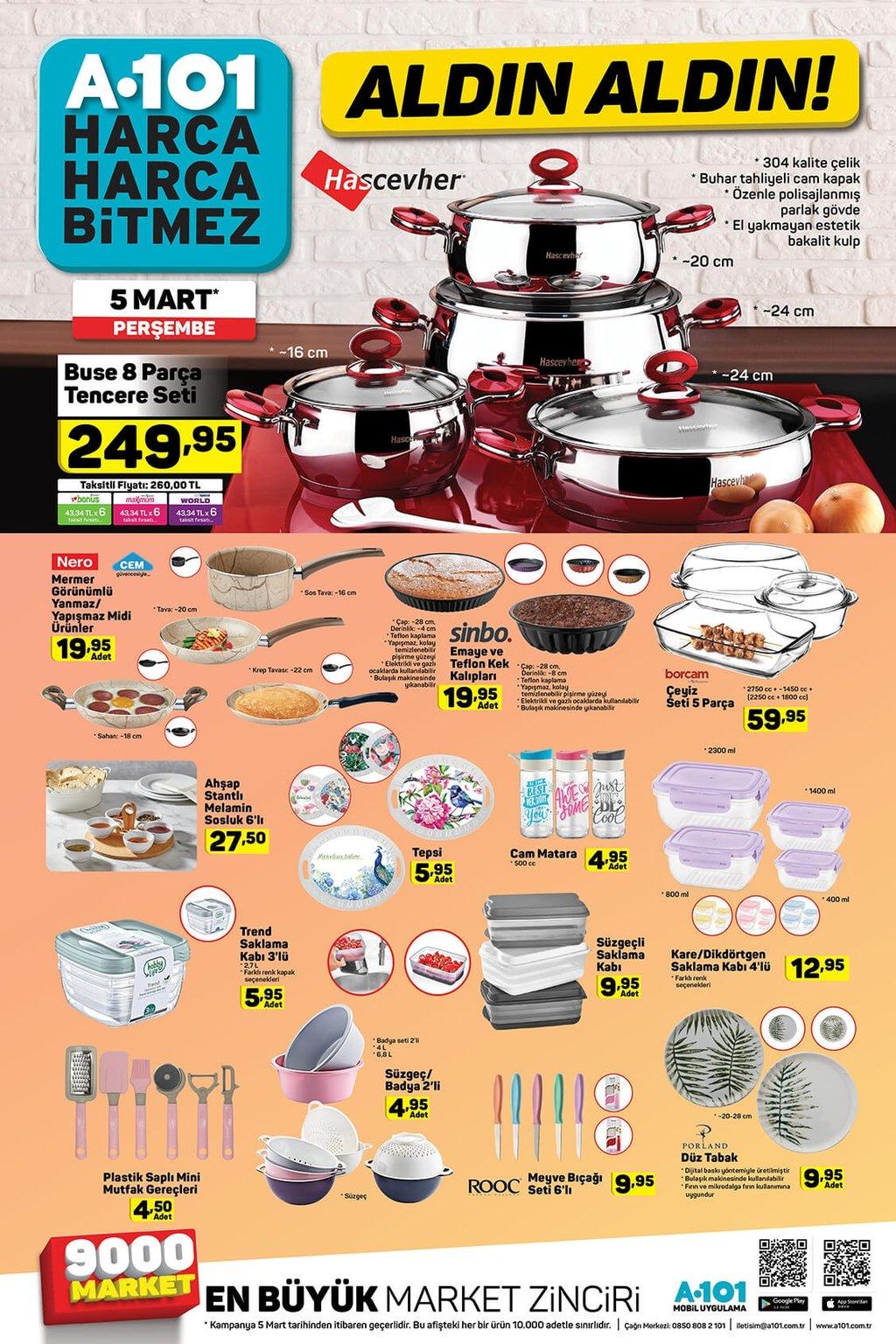 5 Mart Perşembe A101 aktüel ürünler kataloğu
