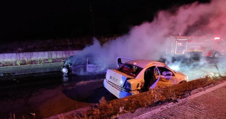Kazaya karışan otomobil alev aldı! Alevlerin arasında kalarak can verdi