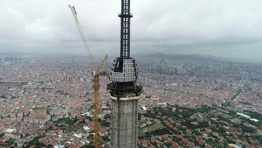 Çamlıca Kulesinin inşaatında gelinen son nokta havadan görüntülendi