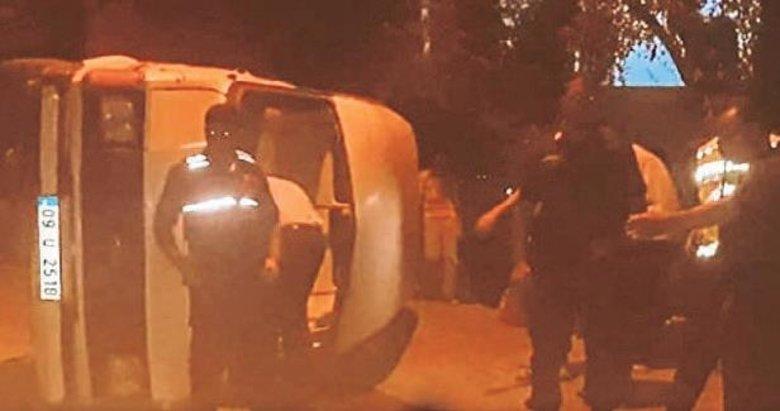 Freni boşalan minibüs devrildi: 7 yaralı