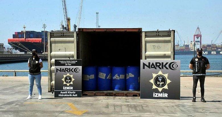 İzmir'de uyuşturucu yapımında kullanılan 26 ton malzeme ele geçirildi