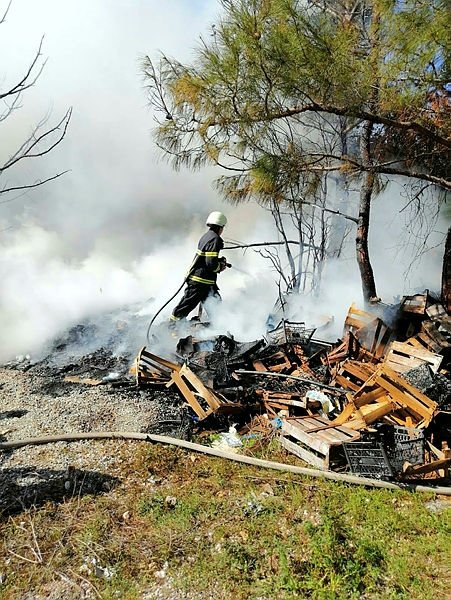 Kaynak yapılırken sıçrayan kıvılcım, 1 dönüm ormanlık alanını yaktı