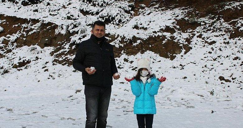 Bergama'da uzun bir süre sonra kar sevinci