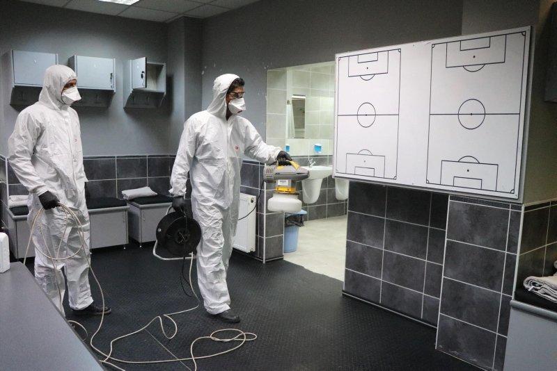 Denizli Atatürk Stadı'nda koronavirüs temizliği