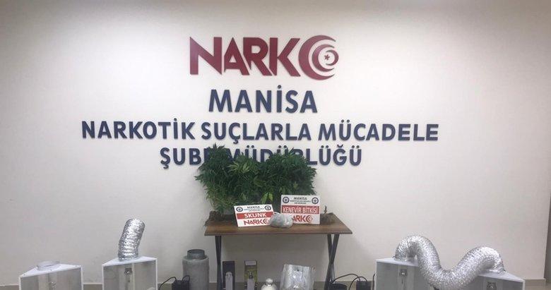 Manisa'da uyuşturucu üretilen eve baskın