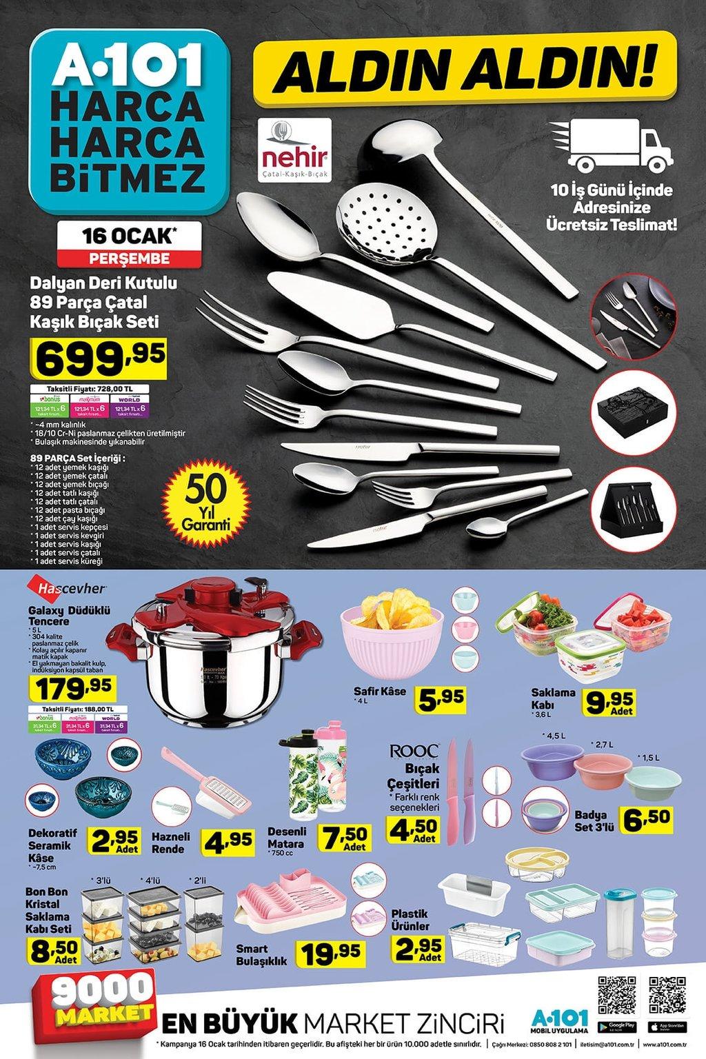 16 Ocak A101 aktüel ürünler kataloğu!