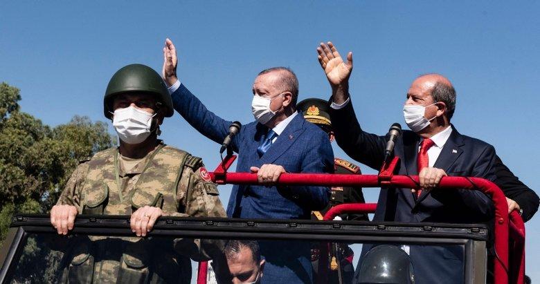 Başkan Erdoğan'dan KKTC'deki geçit töreninde net mesajlar