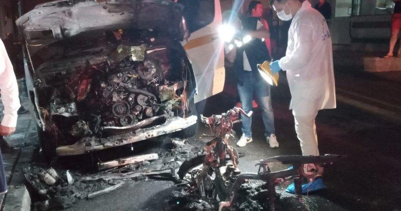 Manisa'da kundaklanan motosiklet park halindeki servis aracını yaktı