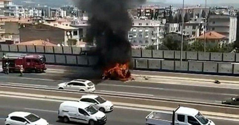 Aracında çıkan yangını söndürmek isterken yaralandı