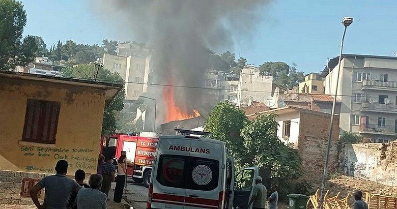 Aydın'da helyum gazı ile dolum yapılan bir evde yangın çıktı
