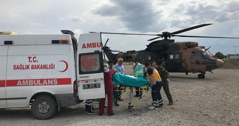 Helikopterler hastalar için havalandı
