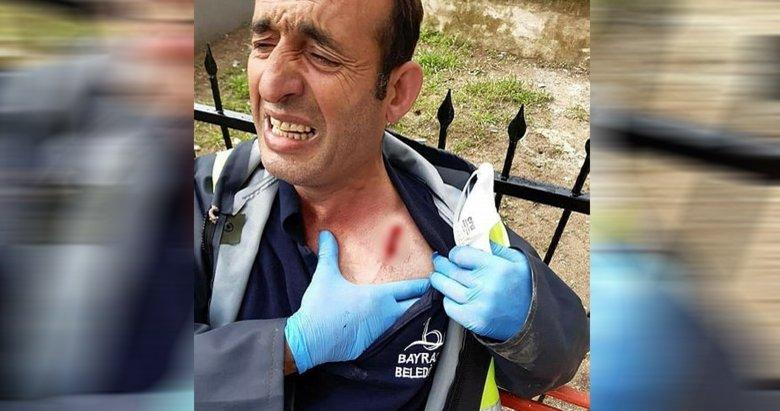 İzmir'de dezenfekte çalışması yapan belediye çalışanına saldırı