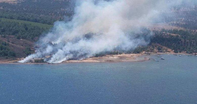 Cunda Adasında orman yangını! Helikopterler kaldırıldı...