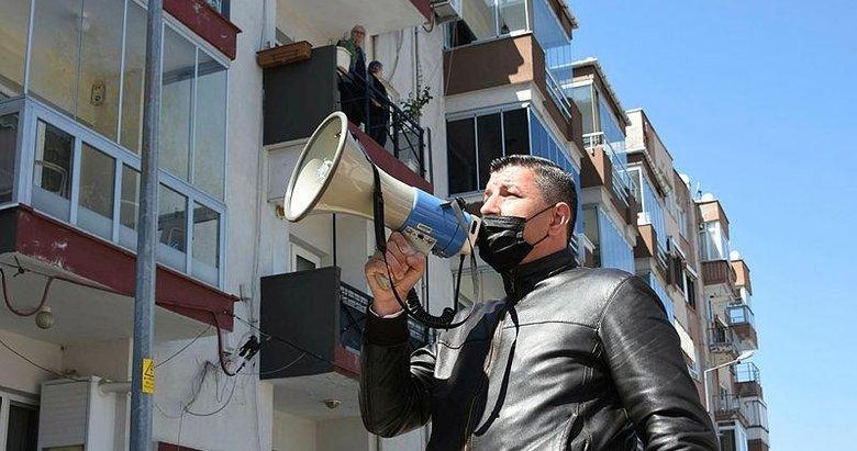 Elinde megafonla mahalleyi dolaşıyor! Muhtardan koronavirüs uyarısı