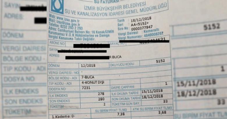 İzmir Büyükşehir Belediyesi'nden skandal su faturası