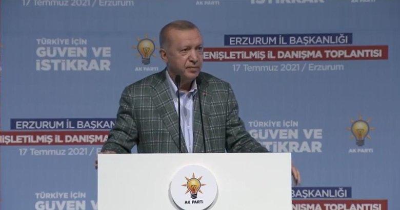 Başkan Erdoğan'dan Erzurum'da önemli mesajlar