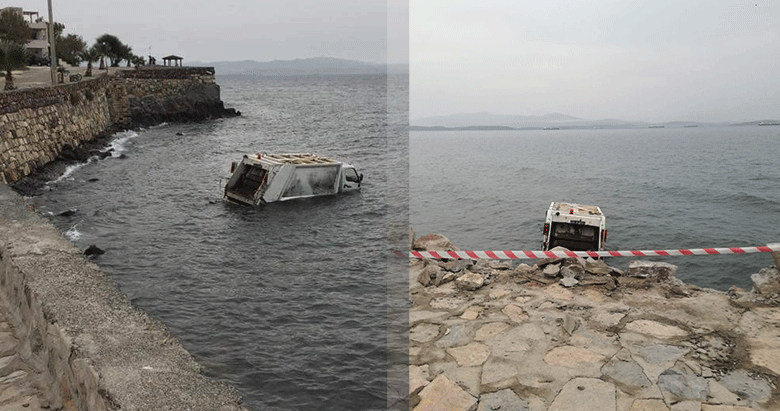 Izmir Dikili De Cop Kamyonu Denize Uctu 1 Yarali Izmir Haberleri