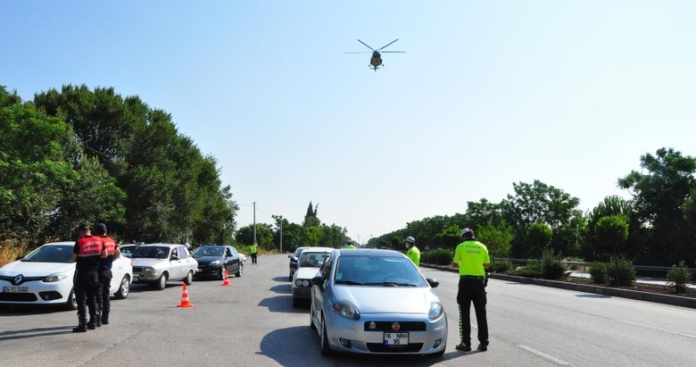 Manisa'da helikopter destekli denetim