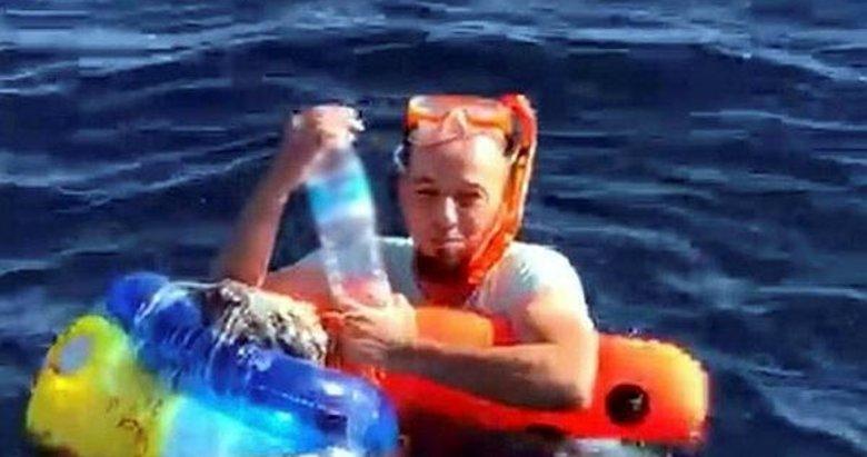 Şnorkel ve plastik deniz simidiyle umuda yolculuk