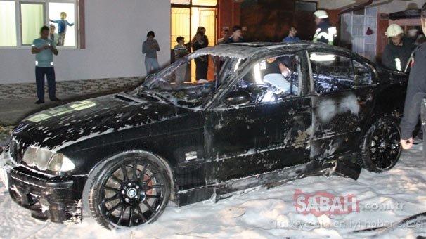 Lüks otomobili herkesin gözü önünde yaktı!