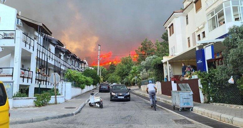 Bir yangın da Marmaris'te çıktı! Yerleşim yerlerini tehdit ediyor