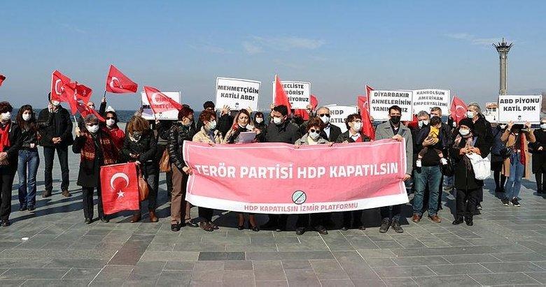İzmir'de bir grup, basın açıklaması yaparak HDP'nin kapatılmasını istedi