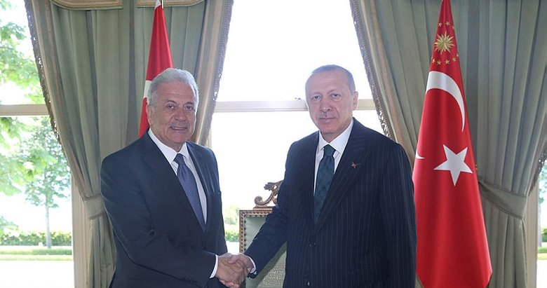 Başkan Erdoğan, Dimitris Avramopoulos'u kabul etti