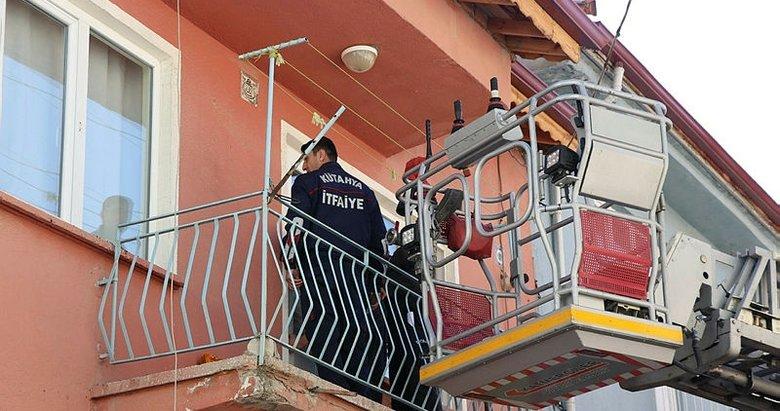Kütahya'da polis eve itfaiye merdiveniyle girdi