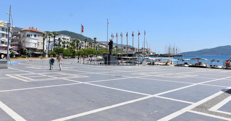 Turizm cenneti Marmariste sıcak hava nedeniyle sokaklar boşaldı