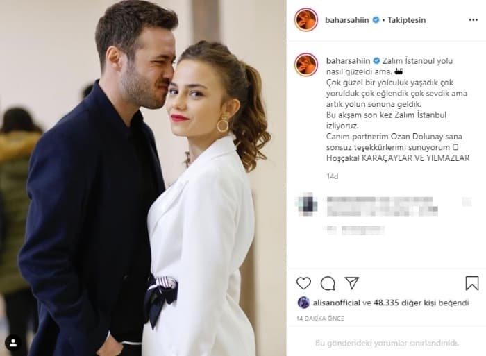 Bir dizi aşkı daha gerçek oldu! Zalim İstanbul'un oyuncuları Bahar Şahin ve Cenk Dolunay öpüşürken görüntülendi