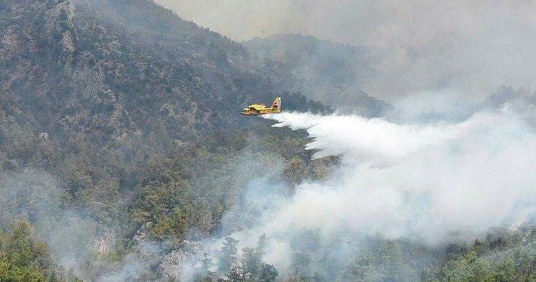 Uçakların biri gidip, biri geliyor! Köyceğiz yangınına müdahale sürüyor