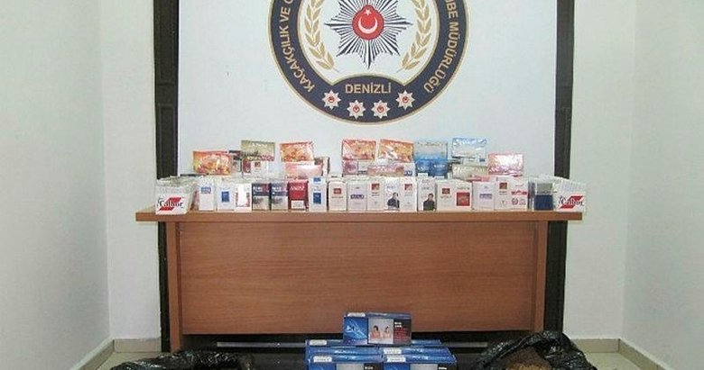 Denizli'de polis 370 paket kaçak sigara ele geçirdi