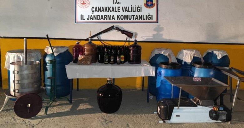 Gökçeada'da bağ evinde 1355 litre sahte şarap ele geçirildi