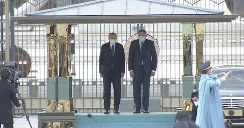 Bosna Hersek heyeti Ankara'da! Başkan Erdoğan resmi törenle karşıladı