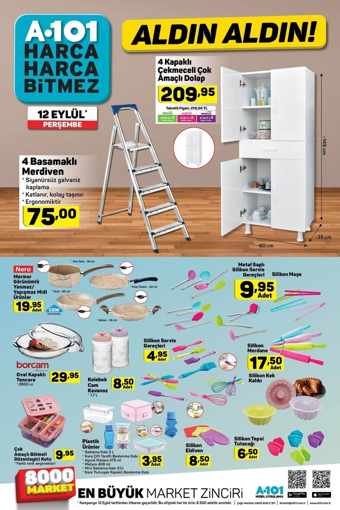 A101 12 Eylül Perşembe aktüel ürünler kataloğu!