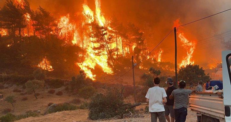 Muğla'da yangınla mücadele! Gece gündüz oldu