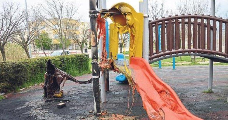 Çocuklar ısınmak için parkı yaktı!