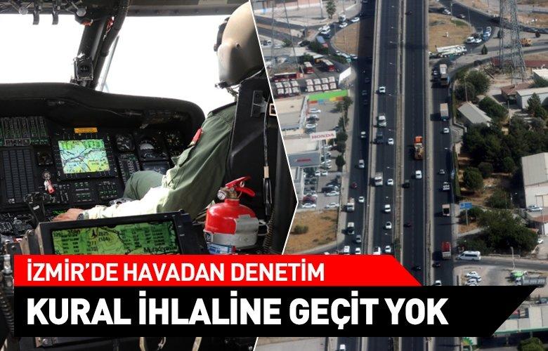 İzmir'de jandarmadan helikopterli trafik denetimi