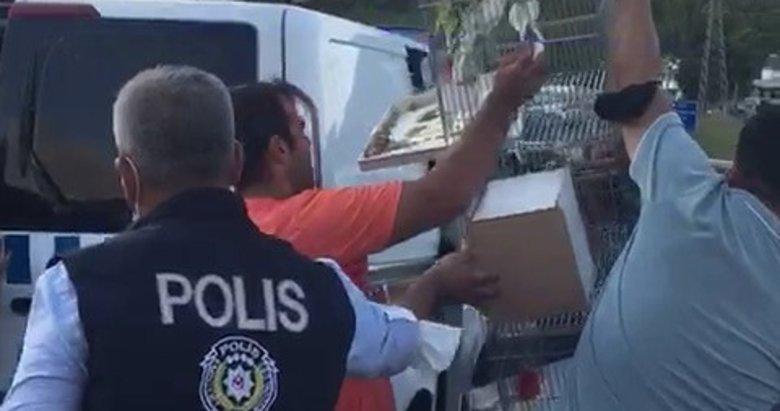 Yangınla mücadelede zamanla yarış! Polisler evcil hayvanları kurtarıyor