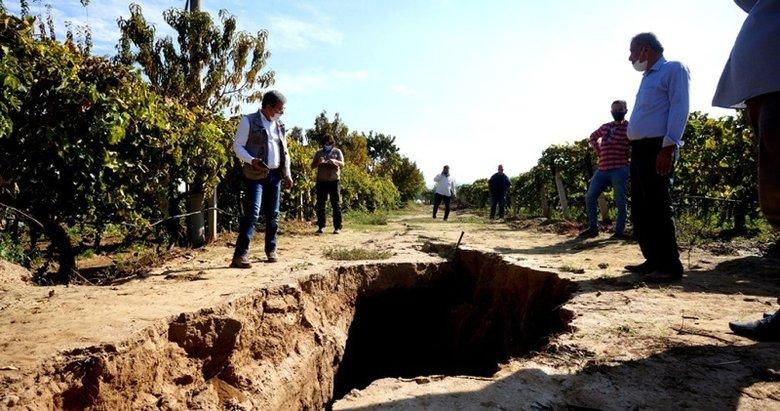 Deprem uzmanlarında Sarıgöl'deki fay hattında inceleme