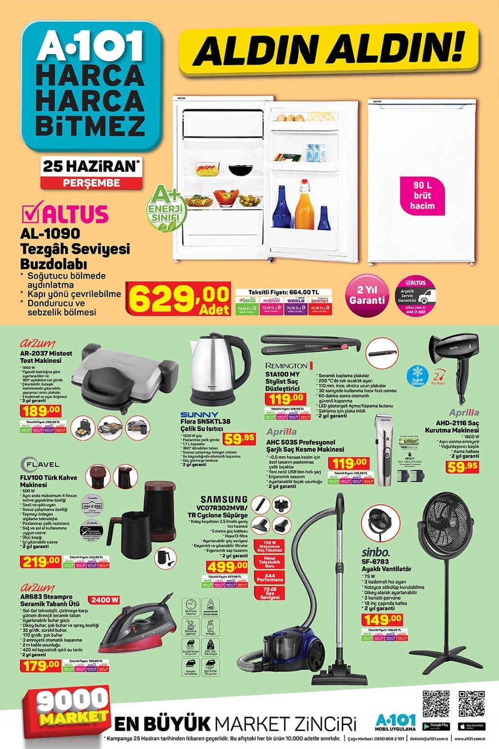 A101 aktüel ürünler kataloğu 25 Haziran Perşembe!