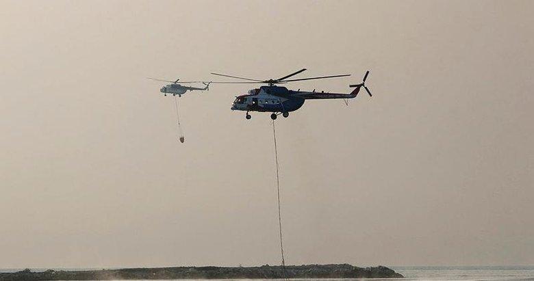 Marmaris, Menteşe ve Kavaklıdere'deki orman yangınlarına 13 helikopter ve 6 uçakla havadan müdahale sürüyor